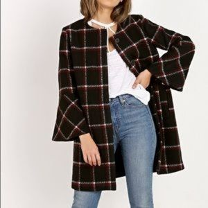BB Dakota Hewes Flared Sleeve Plaid Jacket